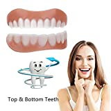 Law Comfortable Temporary Silicone Dentures, Simulation Braces 3 Pairs (Bottom +Top) Perfect Smile Teeth for Whitening Makeover Use