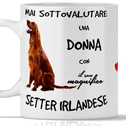 Setter Irland Tasse für Frühstück, Tee, Kaffee, Cappuccino – Gadget Tasse Mai Unterwertung einer Frau mit einem Setter Irland – Originelle Geschenkidee