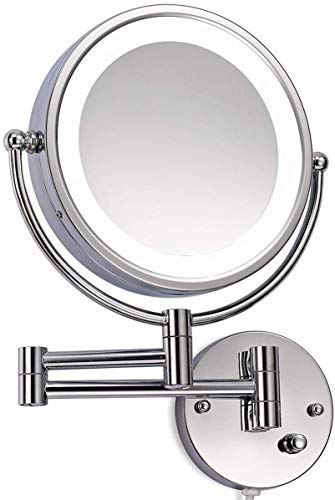 JLSun LED Beleuchtet wunderschöne Kosmetikspiegelhochwertig für die Wandmontage 3 hohe Vergrößerungsgrade wählbar 10Fach, JL58-10
