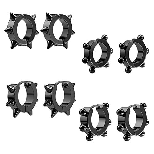8 orecchini a clip per cartilagine non penetranti, in argento, 2.8x2.8cm, Acciaio al titanio,