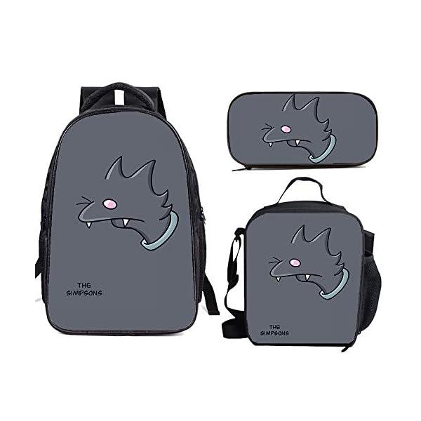 41CVwUFPD+L. SS600  - The Si-mps-ons - Juego de mochila escolar con bolsas de almuerzo y estuche ligero para viaje para niños y niñas