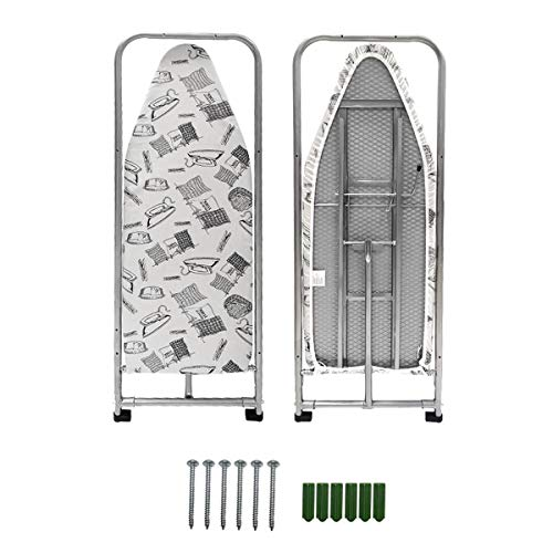 """Duwee 14""""x38"""" Wall Mounted and Door Mounted Ironing Board with Heat Resistant Cover"""