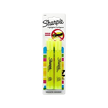 Sharpie 25162PP Accent Tank-Style Highlighter, Fluorescent Yellow, 2-Pack