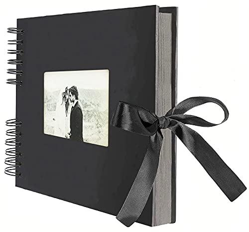 AIOR Album Fotos para Pegar y Escribir Scrapbook, Vintage DIY Scrapbooking Album 80 Páginas Negras, Regalos Originales Navidad Aniversario Boda Cumpleaños (Negro)