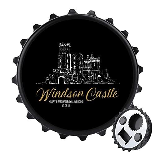 Windsor Castle Harry and Meghan Royal - Abrebotellas de boda con imán...