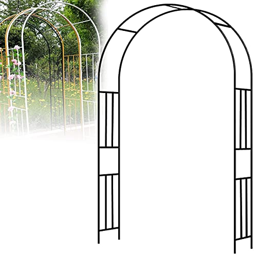 CHEIRS Arcos y arcos de jardín, arcos de rosas de metal galvanizado, al aire libre, bodas, jardines, rosas, arcos, plantas trepadoras, arcos de hierro, metal forjado, jardín, negro, 180 x 240 cm