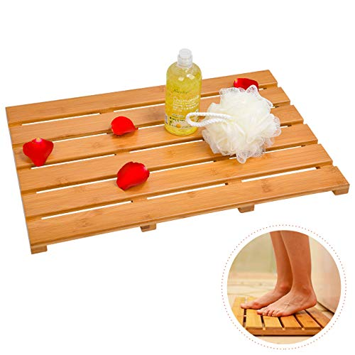 Domax Bath Mat Bathroom Floor Mats - for Shower Non Slip Waterproof Eco-Friendly Square Bamboo Rugs Indoor & Outdoor