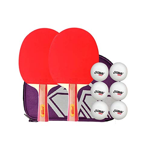 Best Deals! HUIJUNWENTI Table Tennis Racket Set Horizontal Shot Double-Sided Anti-Adhesive Amateur T...