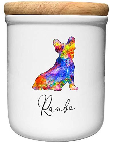Cadouri Keramik Leckerli-Dose FRANZÖSISCHE Bulldogge » personalisiert mit Name deines Hundes «┊Snackdose Keksdose Aufbewahrungsdose┊mit Holzdeckel