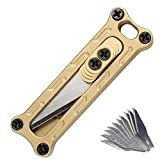 Mini Brass Rapid Utility knife, portable tool paper cutter, Hang able keychain,with Retractable