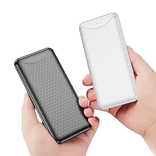 Vancaly 2 Paquete Powerbank 10000mAh,Ultradelgado Batería Externa con Entrada USB C & Mirco,Cargador portatil 2 Puertos USB de Carga (Total 4.8A),Power Bank para Phone,Pad,Samsung,Huawei,Xiaomi