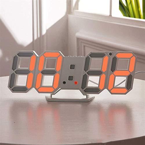 HYZXK Reloj de Pared LED 3D Diseño Moderno Reloj de Mesa Digital Reloj de luz Nocturna con Alarma para la decoración de la Sala de Estar del hogar (Color: Naranja A)