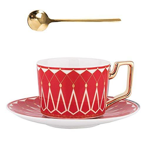 BERTY·PUYI Juego de Taza y platillo de café de cerámica Taza de café con Leche de té de Flores Retro en casa Oficina Latte Cappuccino Taza de café Espresso Regalo para Amigos y Padres-Red