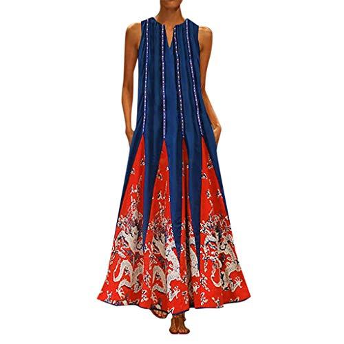 Riou Maxikleider Damen Sommerkleid Große Größen Locker Sexy V-Neck Ärmellos Vintage Blumen Boho Strandkleider Lange Kleider Tunika Kleider Etuikleid