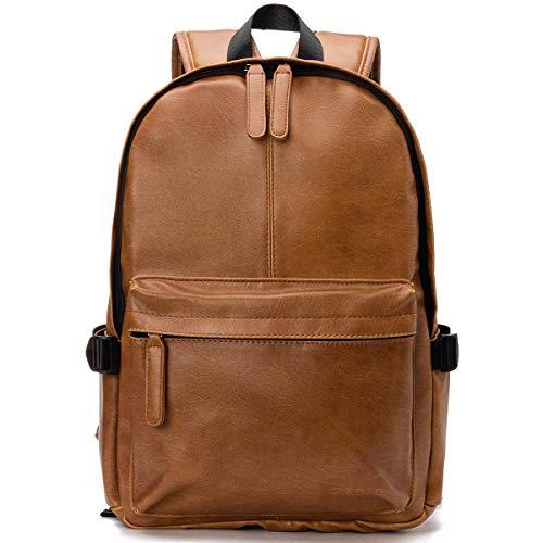 Viaggi Zaino Borsa a Tracolla,OB OURBAG Zaino in Pelle PU Esterni Scuola Zaino fit 15.6' Laptop Backpack per Uomo e Donna (Marrone chiaro))