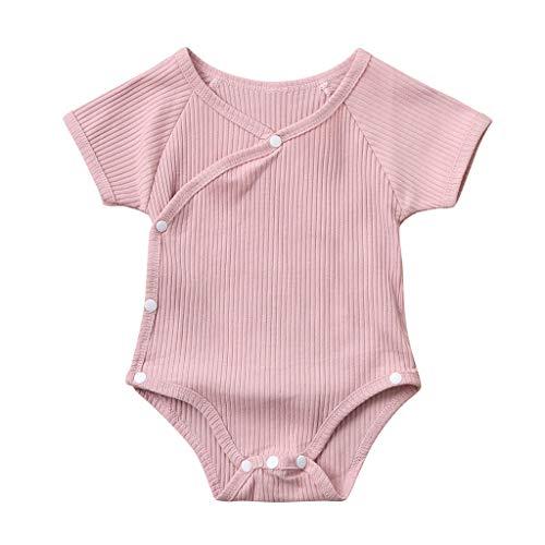 LEXUPE Neugeborene Baby Mädchen Jungen Solid Knit Strampler Bodysuit Tops Outfits Kleidung(Rosa,90)