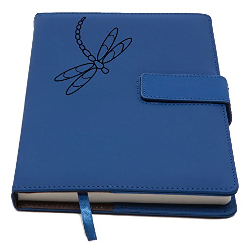 The Dragonfly Journal | Magnetic Clasp Refillable Writing Journal, Faux Leather Journal, Lined Pages, 5 x 8 Inch, 200 Pages | Diary, Notebook, Personal Journal for Men and Women | The Amazing Office