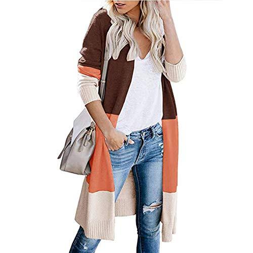 UNIFACO Damen Mantel Knielänge Open Front Cardigan Strickjacke Strickmantel Jacke Outwear