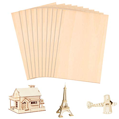 Plywood Sheet,10pcs 300x200x1.5 mm(12x8in) Premium Baltic Birch Plywood,Unfinished Unpainted Thin Basswood Plywood,Wood Burning and Laser Projects,Model Craft DIY Model Wood Plate (300x200x1.5)