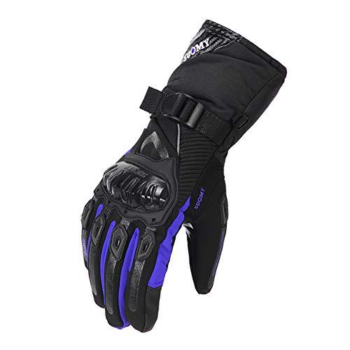 MdsfexixianxinquGuanti da moto per uomo e donna protezione guanti da moto invernali impermeabili e antivento touch screen guanti da moto - WP-02 Blu, XL