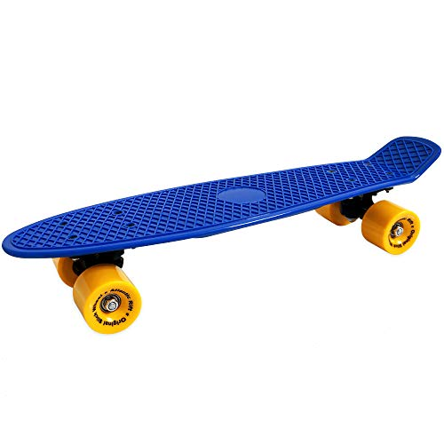 Atlantic Rift Retro Skateboard Pennyboard Retroboard | Oldschool Design | sicherer Halt | robuste Rollen | PU-Dämpfer | blau-gelb