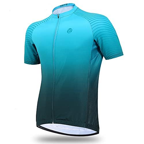 Radtrikot Herren, Fahrradtrikot Kurzarm Tops mit 4 Taschen, Schnell Trocknen Sweat-wicking Fahrradhemd, Montain Fahrradjacke Voller Reißverschluss Lauftrainingshemden, Sonnenschutz (2XL, Green)