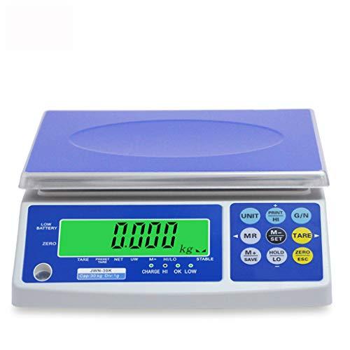 Alta Precisión Báscula Digital Pantalla LCD Alta Precisión Multifunción Acero Inoxidable por Comercial Peso 30kg/1g (Size : 7.5kg0.2g)