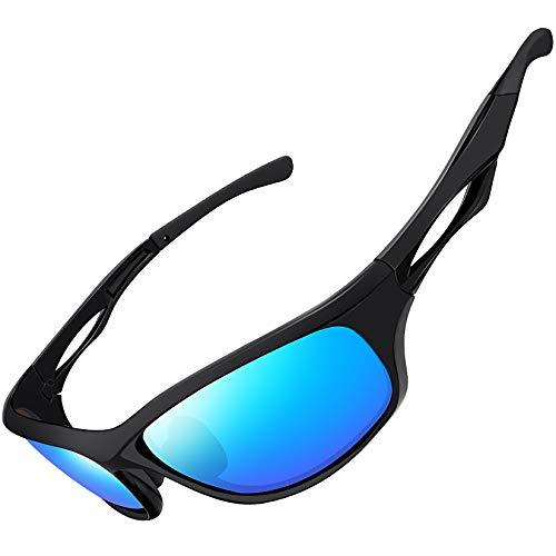 Joopin Occhiali da Sole Sportivi Polarizzati Rettangolare Donna e Uomo con Protezione UV 100% (Lenti Blu Ghiaccio)