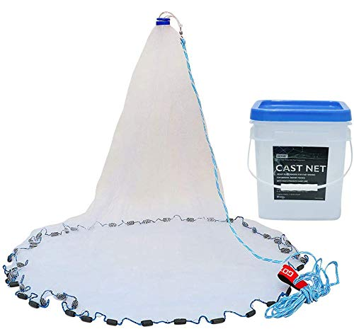 Goture American Saltwater Fishing Cast Net for Bait Trap Fish 4ft/6ft/8ft/10ft/12ft Radius, 3/8inch Mesh Size