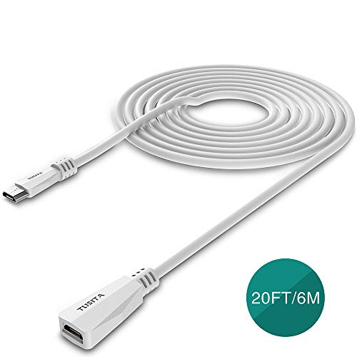 TUSITA Micro USB Power Verlängerungskabel (20ft / 6M)-Stecker auf Buchse Verlängerungskabel für Blink XT2 Outdoor Indoor Home,Ring Stick Up Solar Panel,Arlo Pro,Zmodo - Security Kamera Zubehör (Weiß)