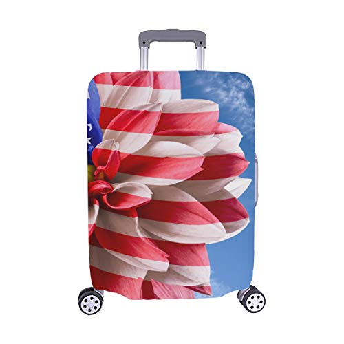 Dahlia Flag Of Usa In Blue Sky Pattern Spandex Trolley Case Travel Luggage Protector Suitcase Cover 28.5 X 20.5 Inch