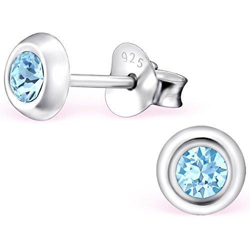 EYS JEWELRY Ohrstecker Damen rund 925 Sterling Silber Swarovski Elements Glitzer Kristalle aquamarin-blau Damen-Ohrringe