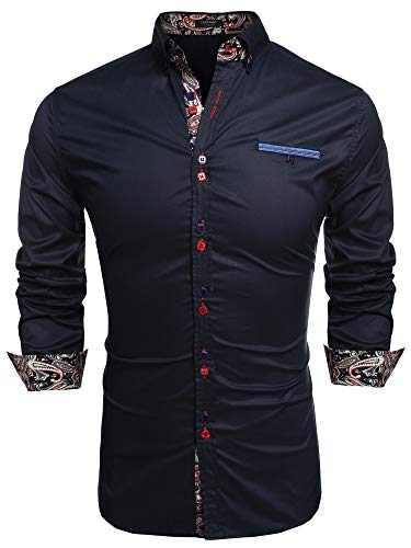 Coofandy Men's Fashion Slim Fit Dress Shirt Casual Shirt,Dark Blue,XX-Large