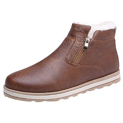 JiaMeng-ZI Botas de Nieve Inviern Antideslizante Estilo británico Zapatos de Trabajo Cremallera Lateral Sin diseño de Cordones Felpa Mantener Caliente Zapatillas de Trekking Botas Martens