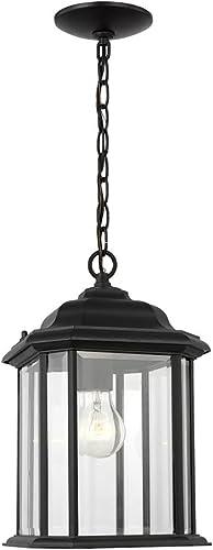 "discount Sea Gull 60031-12 Kent Clear Beveled Glass Outdoor Pendant outlet online sale Hanging Lantern, 1-Light 100 outlet sale Watt, 15""H x 8""W, Black online sale"