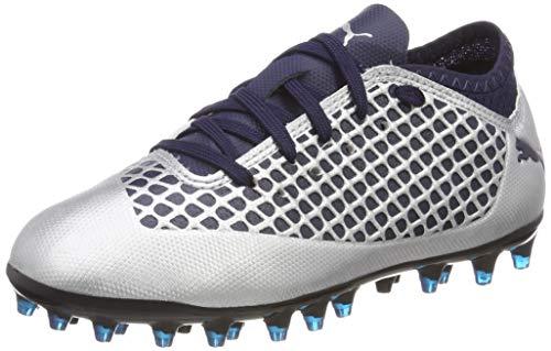 Puma Future 2.4 MG Jr, Zapatillas de Fútbol para Niños, Plateado Silver-Peacoat 03, 33 EU