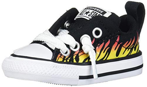 Converse Baby Chuck Taylor All Star Street Flame Print Low Top Sneaker, Black/Fresh Yellow, 5 M US Toddler