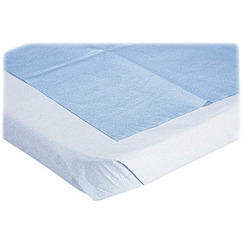 """Medline NON24333 Disposable Tissue/Poly Flat Stretcher Sheets, 40"""" x 72"""", Blue (Pack of 50)"""