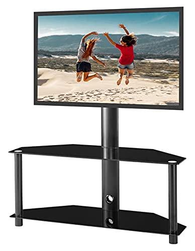 TabloKanvas Soporte de TV de piso ajustable con pantalla LCD de plasma de 2 niveles de vidrio templado para múltiples dispositivos de medios (color negro)