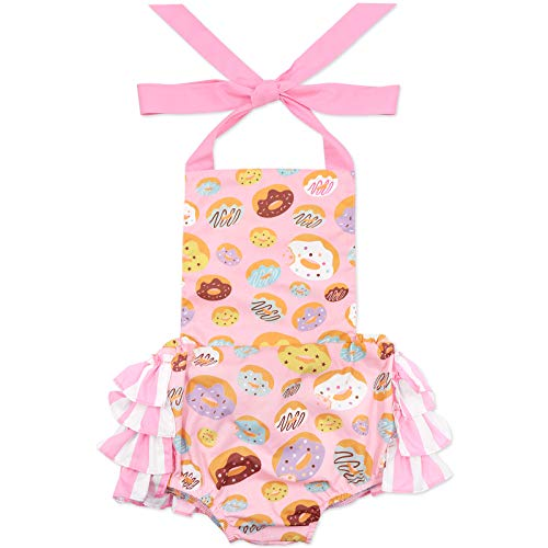 Eunikroko Baby Girls Toddler Sleeveless Romper Jumpsuit Donut Cake Smash Outfit with Ruffles Pink