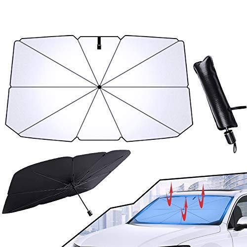 Sonnenschutz Auto Frontscheibe, Faltbarer Auto Windschutzscheibe Sonnenschutz, Block 99% UV Sonnenschirm Universal, für die Meisten Autos, SUVs und LKWs Sonnenschutz für Frontscheiben(145*79 CM)