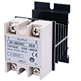 TWTADE Solid State Relay SSR-40 DA 40A DC 3-32V to AC 24-380V + Heat Sink