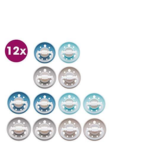 3 x 4 Schnuller Cherry® kirschform Größe 2, ab 6 Monate, Latex, Blau/Grau/Türkis/Braun Erdig