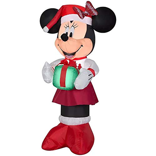 Gemmy 3.5Ft. Inflatable Christmas Minnie Mouse Dressed in Red and White Christmas Skirt with Red Santa Cap with Bow and a Airblow Indoor/Outdoor Holiday Decorations
