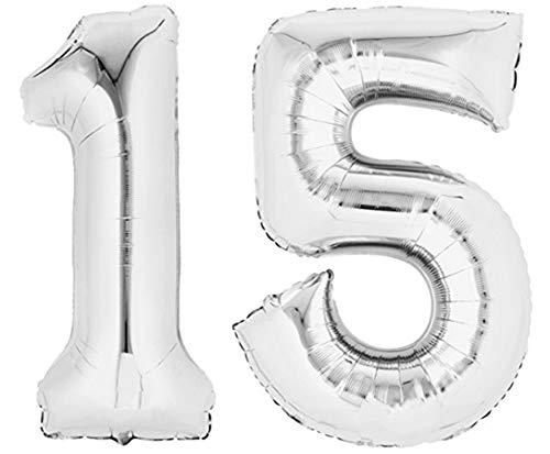 TopTen Folienballon Zahl 15 Silber XXL über 90 cm hoch - Zahlenballon / Luftballon für Geburtstagsparty, Jubiläum oder sonstige feierliche Anlässe (Nummer 15)