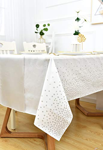 Rectangular Plastic Tablecloth (54x108'') with Silver Dots and Silk Runner, Disposable Vinyl Table Covers for Decorating Parties Thanksgiving Christmas, Bridal&Baby Showers, Wedding & Birthday Parties