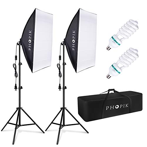 PHOPIK Softbox Lighting Kit 2X20X28 inch Professional Continuous Studio Photography Photo Studio Equipment with 2×85W 5500K E27 Socket Bulbs for Portraits and Product Shooting