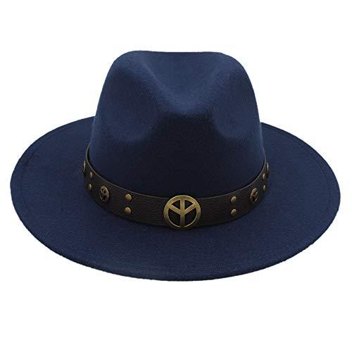 QiuKui Gorra de Vaquero y Sombrero de Copa, Sombrero Fedora de Lana de