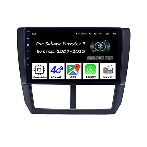 WJYCGFKJ Android Car Player Radio 9 Pulgadas Pantalla táctil Radio Navegación GPS para Subaru Forester 2007-2013 Car Radio Car Accesorios Plug and Play Soporta Control del Volante, 8 núcleos 4G + 64G