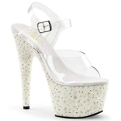 Pleaser Pearlize-708 sexy High Heels Gogo Sandaletten, Strass mit Perlen, Transparent-Weiss, 35-40